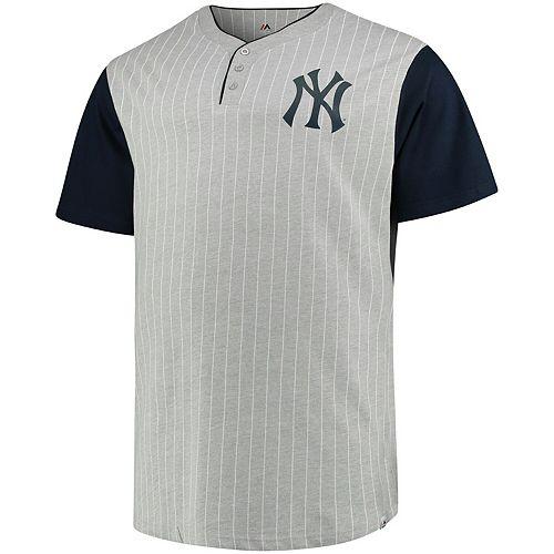 Men's Majestic Gray/Navy New York Yankees Big & Tall Life or Death Pinstripe Henley T-Shirt