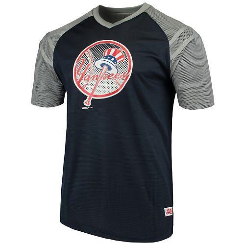 Men's Stitches Navy/Gray New York Yankees V-Neck Mesh Jersey T-Shirt