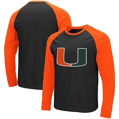 sports shoes 29a34 8eacf Men's Colosseum Black/Orange Miami Hurricanes Long Sleeve T-Shirt
