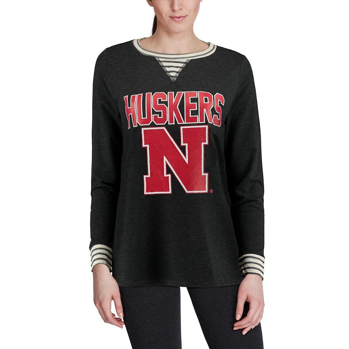 Women's Heathered Charcoal Nebraska Cornhuskers Striped Panel Oversized Long Sleeve Tri-Blend Tunic Shirt LwMYK