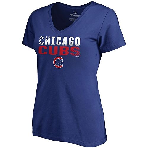 Women's Fanatics Branded Royal Chicago Cubs Fade Out V-Neck T-Shirt