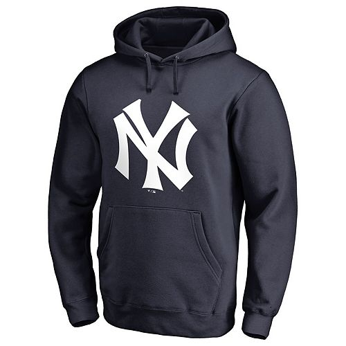 Men's Fanatics Branded Navy New York Yankees Logo Cooperstown Collection Huntington Pullover Hoodie