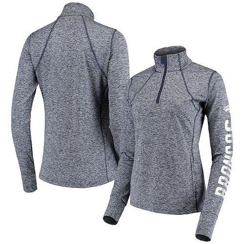 Women's G-III 4Her by Carl Banks Navy Denver Broncos Class Pass Quarter-Zip Pullover Jacket