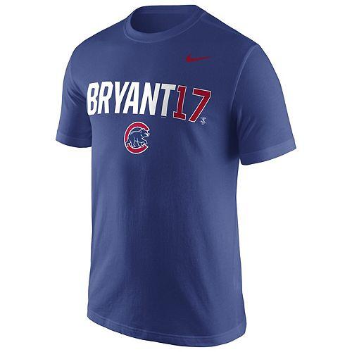 Mens Nike Kris Bryant Royal Chicago Cubs Nickname Name & Number Performance T-Shirt