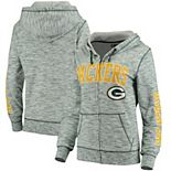 Women's 5th & Ocean by New Era Green Green Bay Packers Athletic Space Dye Full-Zip Hoodie