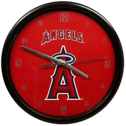 Los Angeles Angels Black Rim Basic Clock