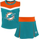 Youth Aqua/Orange Miami Dolphins Two-Piece Spirit Cheerleader Set