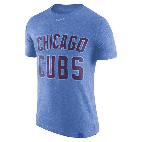 Men's Nike Heathered Royal Chicago Cubs Tri-Blend DNA Wordmark Performance T-Shirt