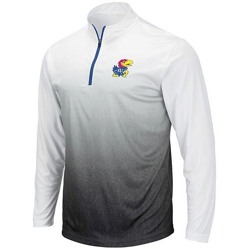 Men's Colosseum Gray Kansas Jayhawks Magic Team Logo Quarter-Zip Jacket