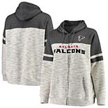 Women's Majestic Heathered Black Atlanta Falcons Plus Size Full-Zip Varsity Pop Hoodie