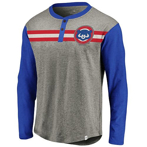 Men's Fanatics Branded Gray/Royal Chicago Cubs Big & Tall True Classics Stripe Henley Long Sleeve T-Shirt