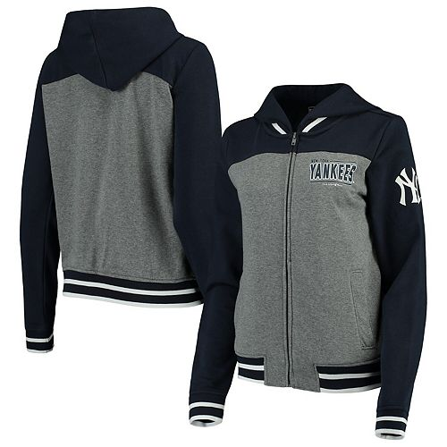 Women's New Era Gray/Navy New York Yankees French Terry Full-Zip Hoodie