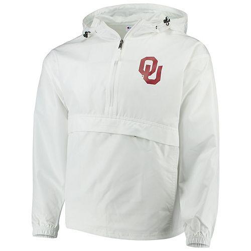 Men's Champion White Oklahoma Sooners Tailgate Packable Half-Zip Jacket