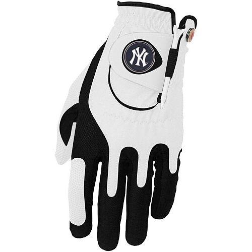 Men's White New York Yankees Left Hand Golf Glove & Ball Marker Set