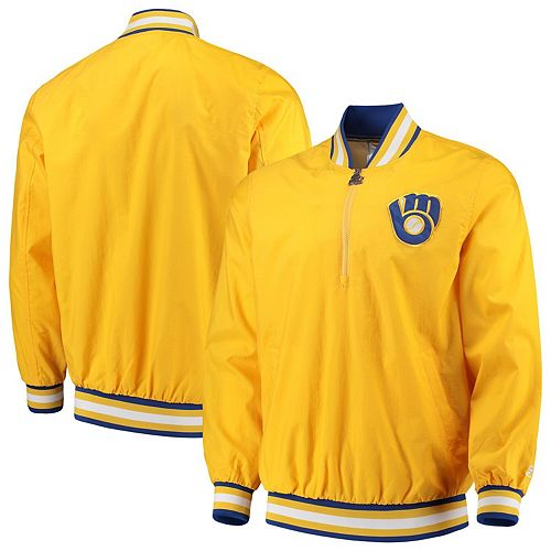 Men's G-III Sports by Carl Banks Gold Milwaukee Brewers Starter Jet Game Half-Zip Pullover Jacket
