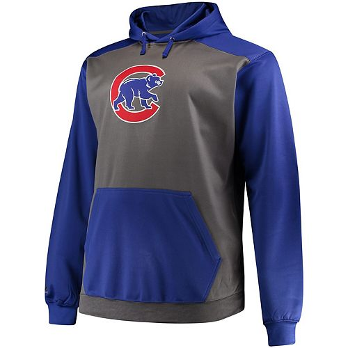 Men's Majestic Charcoal/Royal Chicago Cubs Fleece Hoodie