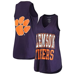 Women's Purple Clemson Tigers 2-Hit At Ease V-Neck Tank Top