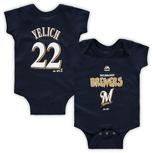 Newborn & Infant Majestic Christian Yelich Navy Milwaukee Brewers Stitched Player Name & Number Bodysuit