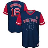 Youth Majestic Andrew Benintendi Navy/Red Boston Red Sox Play Hard Player V-Neck Jersey T-Shirt