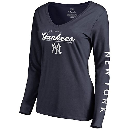 Women's Fanatics Branded Navy New York Yankees High Class Long Sleeve V-Neck T-Shirt
