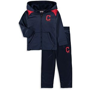 Infant Majestic Navy Cleveland Indians Play Action Full-Zip Hoodie & Pants Set