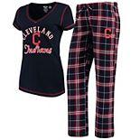 Women's Concepts Sport Navy Cleveland Indians Duo Pants & Top Set