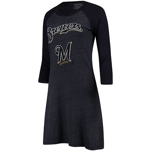 Women's Majestic Threads Navy Milwaukee Brewers Tri-Blend 3/4-Sleeve Raglan Dress