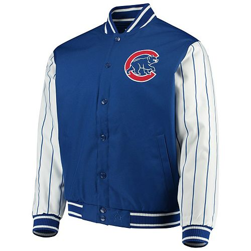 Men's JH Design Royal Chicago Cubs Quilted Knit Jersey Lining Jacket