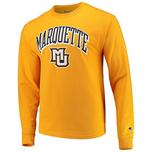 new arrival 016db 2536e Men's Champion Gold Marquette Golden Eagles Arch & Logo Long Sleeve T-Shirt