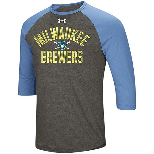 Men's Under Armour Heathered Gray/Light Blue Milwaukee Brewers Tri-Blend Cooperstown Crossed Bats 3/4-Sleeve Raglan Performance T-Shirt