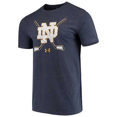 best service e049b 63c91 Men's Under Armour Heathered Navy Notre Dame Fighting ...