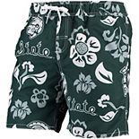 Men's Wes & Willy Green Michigan State Spartans Floral Volley Swim Trunk