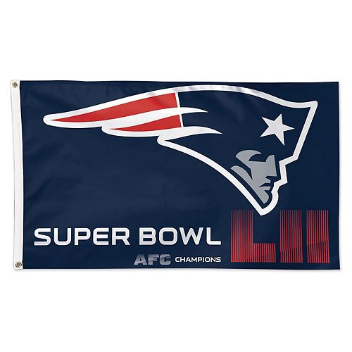 WinCraft New England Patriots 2017 AFC Champions 1-Sided Deluxe 3' x 5' Flag with Grommets