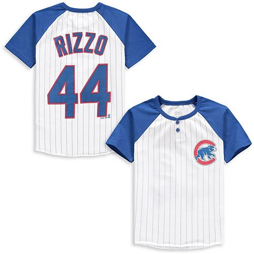 Youth Majestic Anthony Rizzo White/Royal Chicago Cubs Game Day Pinstripe Name & Number Henley T-Shirt