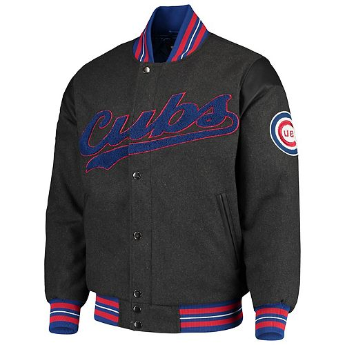 Men's G-III Sports by Carl Banks Gray Chicago Cubs Game Ball Full-Snap Varsity Jacket