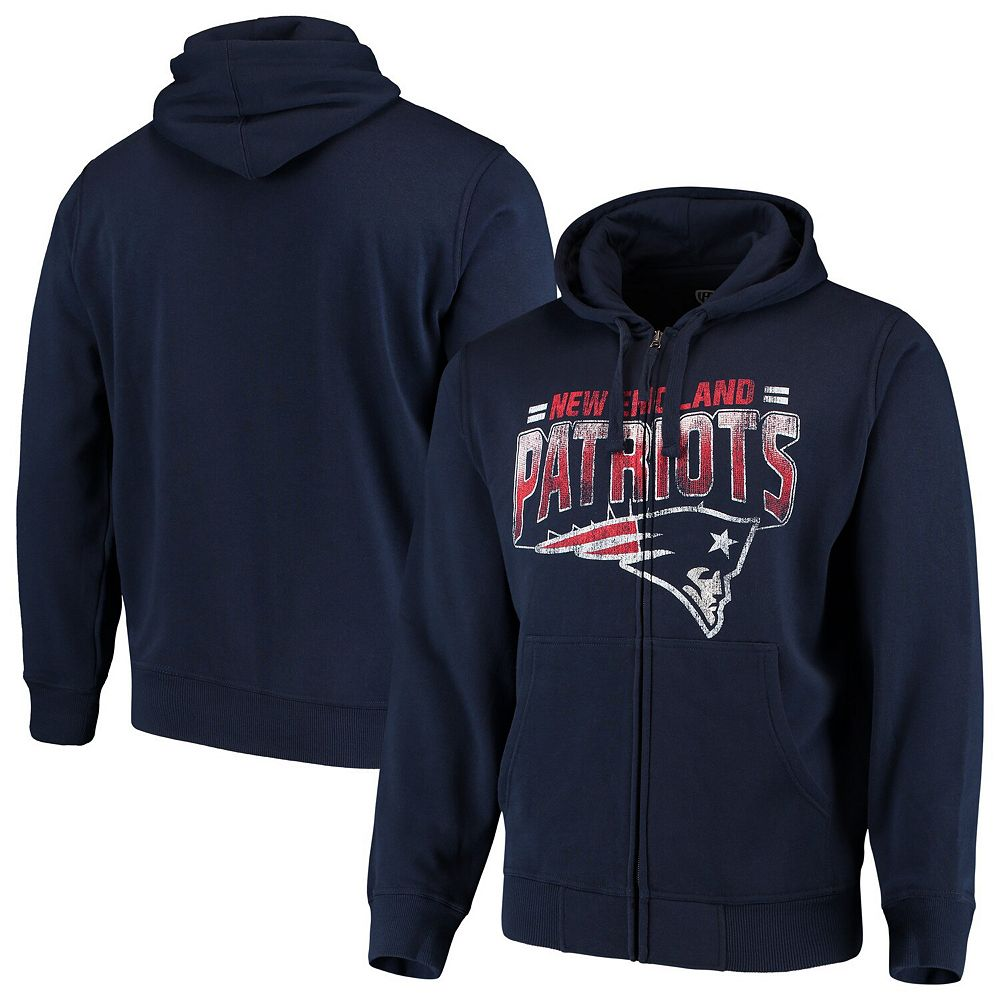 Men's G-III Sports by Carl Banks Navy New England Patriots Perfect Season Full-Zip Hoodie