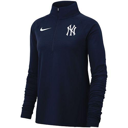Women's Nike Navy New York Yankees Team Core Half-Zip Raglan Pullover Jacket
