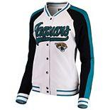 Women's New Era White/Black Jacksonville Jaguars Varsity Full Snap Jacket