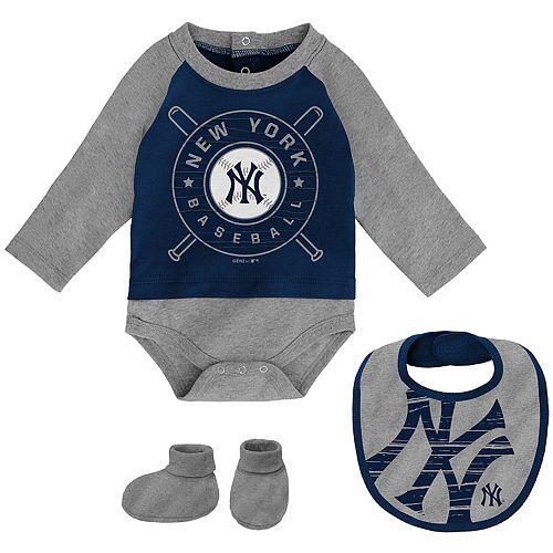 Newborn & Infant Navy/Gray New York Yankees Dugout Dude Bodysuit, Bib & Booties Set