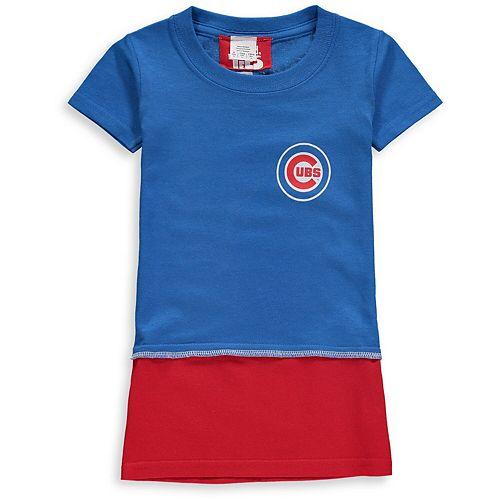 Girls Toddler Refried Tees Royal Chicago Cubs T-Shirt Dress