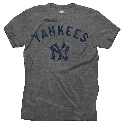 Men's Majestic Threads Gray New York Yankees Granite Tri-Blend Crew T-Shirt