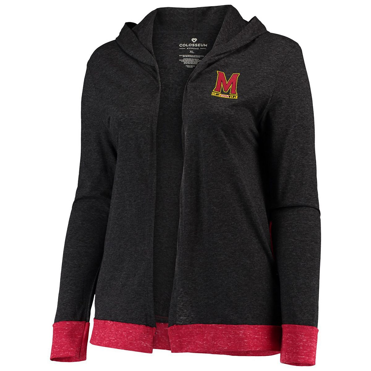 Women's Colosseum Charcoal Maryland Terrapins Plus Size Steeplechase Open Hooded Tri-Blend Cardigan pXZFl