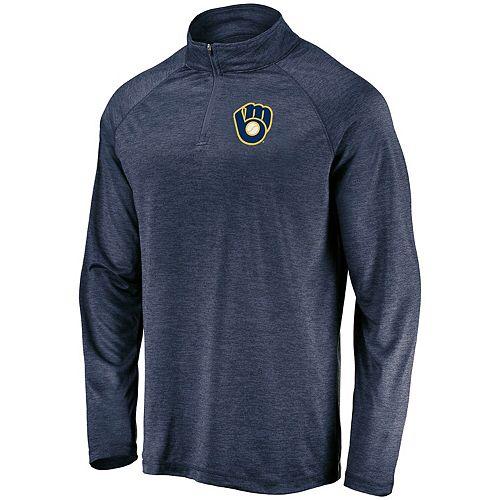 Men's Majestic Navy Milwaukee Brewers Contenders Welcome Quarter-Zip Pullover Jacket