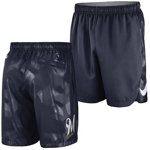 Men's Nike Navy Milwaukee Brewers Authentic Collection Team Logo Performance Shorts
