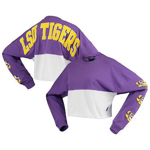 Women's Purple LSU Tigers Colorblock Raw Cropped Spirit Jersey Long Sleeve T-Shirt