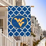 """West Virginia Mountaineers Double-Sided 28"""" x 40"""" Quatrefoil Fashion House Flag"""