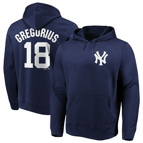 Men's Majestic Didi Gregorius Navy New York Yankees Authentic Name & Number Pullover Hoodie