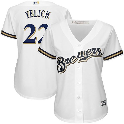 Women's Majestic Christian Yelich White Milwaukee Brewers Plus Size Home Cool Base Player Jersey