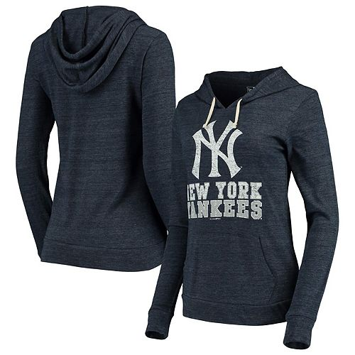 Women's New Era Navy New York Yankees Jersey Tri-Blend Pullover Hoodie