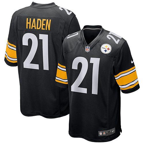 new products d77aa 86395 Men's Nike Joe Haden Black Pittsburgh Steelers Game Jersey